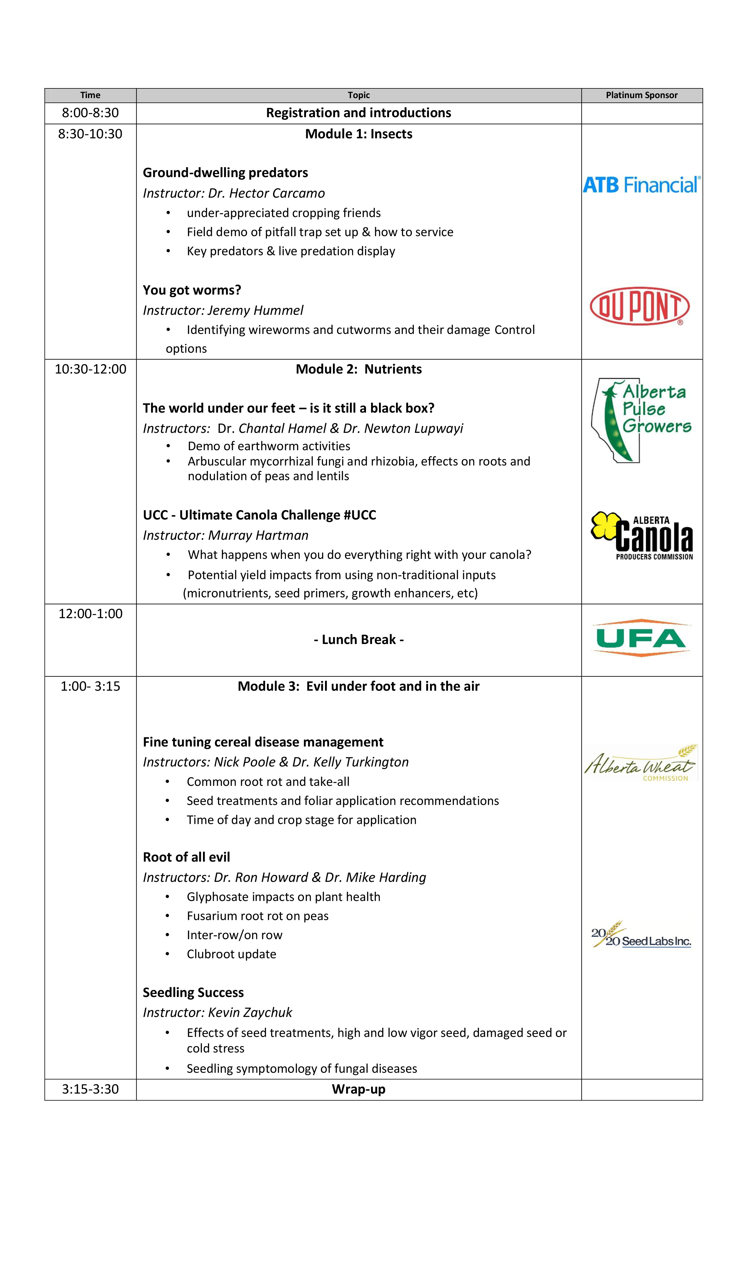 The schedule for the 2013 Farming Smarter Field School.